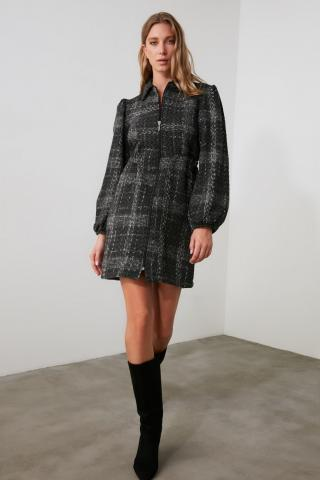 Trendyol Multicolored Zipper Tweed Dress dámské 38