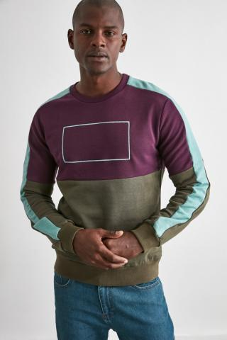 Trendyol Mürdüm Paneled Sweatshirt pánské Plum S