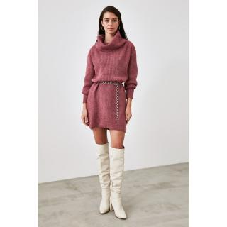 Trendyol Mürdüm Turtlenecous Knitwear Dress dámské Plum S