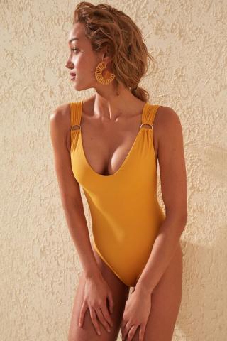 Trendyol Mustard Accessory Detailed Swimsuit dámské 34