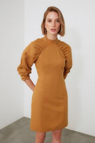 Trendyol Mustard Sleeve Detailed Dress dámské 34