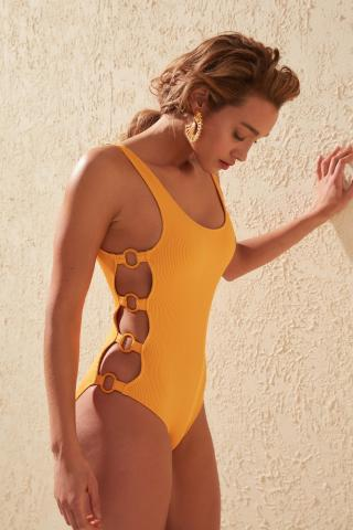 Trendyol Mustard Textured Accessory Detailed Swimsuit dámské 34