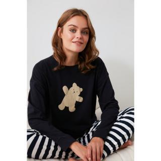 Trendyol Navy Bear Printed Knitted Pajama Set dámské XL