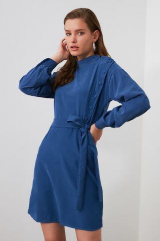 Trendyol Navy Belt Button Deaty Dress dámské 34