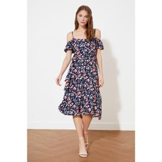 Trendyol Navy Blue Belted Buttoned Dress dámské 34