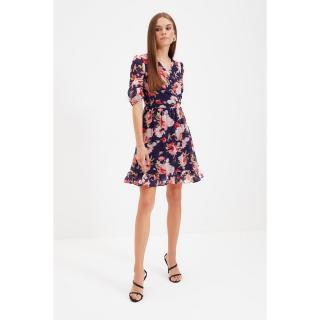 Trendyol Navy Blue Double Breasted Collar Dress dámské Other 34