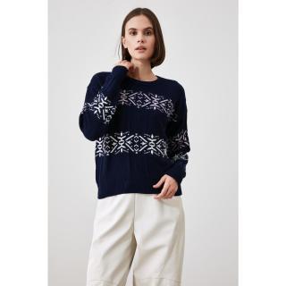Trendyol Navy Blue Jacquin Knitwear Sweater dámské S