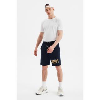 Trendyol Navy Blue Men Regular Fit Printed Shorts & Bermuda pánské S