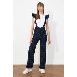 Trendyol Navy Blue Plaid Shoulder Detailed Overalls dámské 34