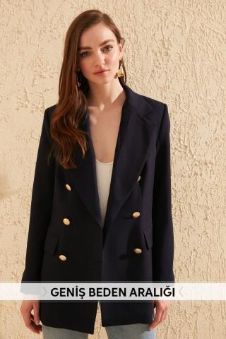 Trendyol Navy Button Detailed Jacket dámské 34