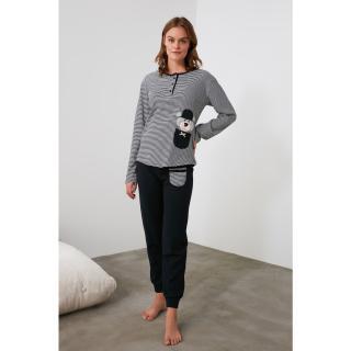 Trendyol Navy Embroidered Knitted Pajama Set dámské S