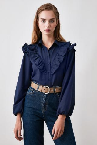 Trendyol Navy Frill Detailed Shirt dámské 34