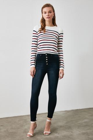 Trendyol Navy Front Button High Waist Skinny Jeans dámské 34