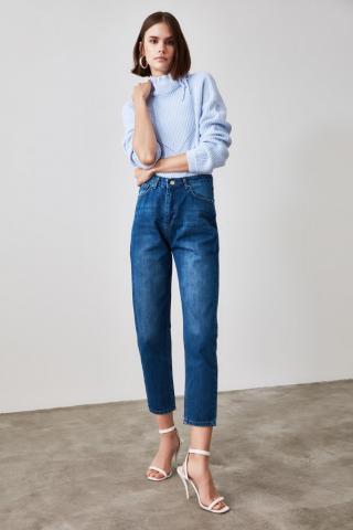 Trendyol Navy High Waist Mom Jeans dámské 34