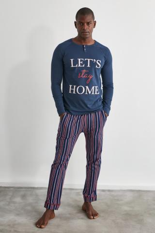Trendyol Navy Knitted Pajama Set pánské XL