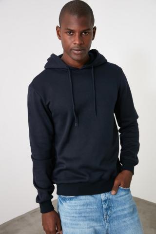 Trendyol Navy Mens Hooded Regular Fit Sweatshirt pánské M
