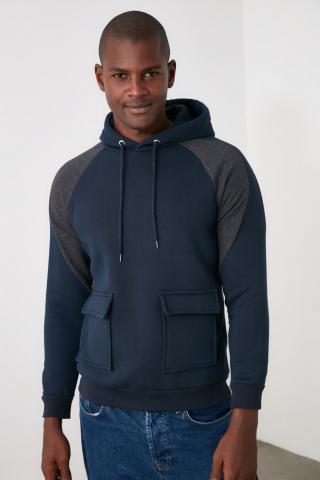 Trendyol Navy Mens Hooded Regular Fit Sweatshirt pánské S