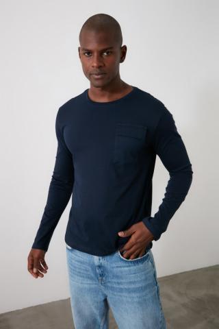 Trendyol Navy Mens Long Sleeve Pocket Detailing Regular Fit T-Shirt pánské S