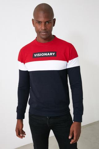 Trendyol Navy Mens Print Slim Fit Sweatshirt pánské S