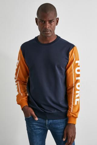 Trendyol Navy Mens Printed Regular Fit Sweatshirt pánské S