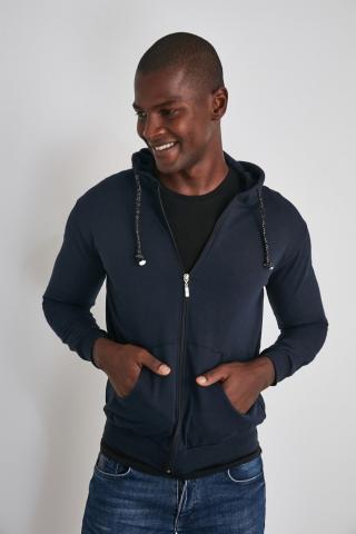 Trendyol Navy Mens Zip Hooded Regular Fit Sweatshirt pánské S