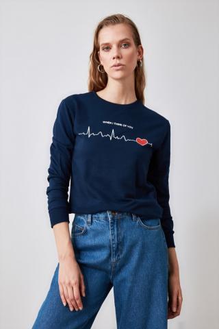 Trendyol Navy Printed Knitted Sweatshirt dámské S