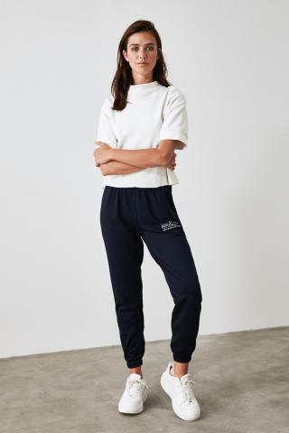 Trendyol Navy Printed Loose Jogger Knitted Tracksuit bottom dámské S