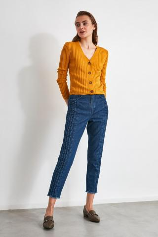 Trendyol Navy Seam Detail High Waist Mom Jeans dámské 34