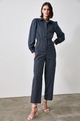 Trendyol Navy Striped Jumpsuit dámské 34