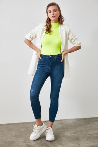 Trendyol Navy Weary High Waist Jeans dámské 34