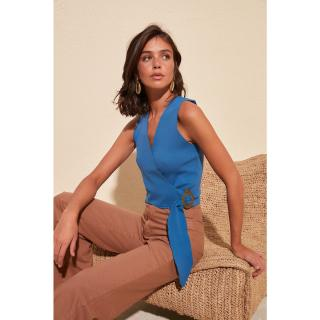 Trendyol Oil Binding Detailed Knitwear Blouse dámské Petrol M