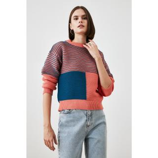 Trendyol Oil Color Block Knitwear Sweater dámské Petrol S