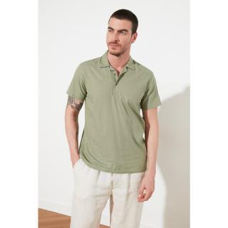 Trendyol Open Haki Mens Regular Fit Shirt Collar Short Sleeve Half Pat shirt pánské Açık Haki S