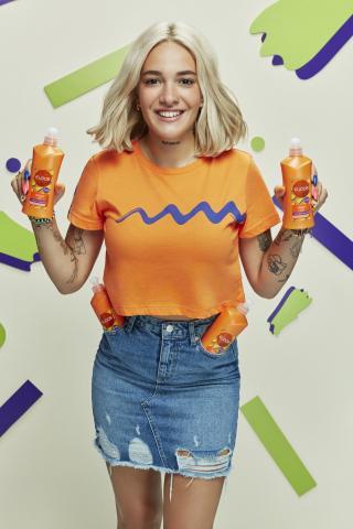 Trendyol Orange Printed Crop Knitted T-Shirt dámské XS