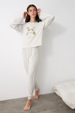 Trendyol Panda Printed Striped Knitted Pajama Set dámské Multi L