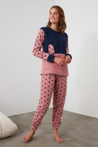 Trendyol Pink Embroidered Wellsoft Pajama Set dámské powder pink S