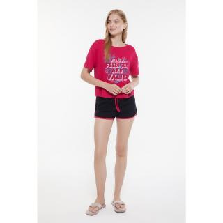 Trendyol Pink Printed Knitted Pajamas Set dámské XS