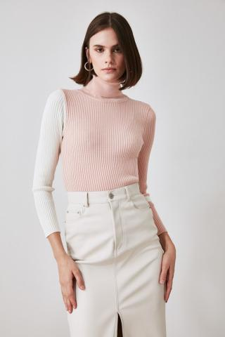 Trendyol Powder Handle Color Block Knitwear Sweater dámské powder pink S