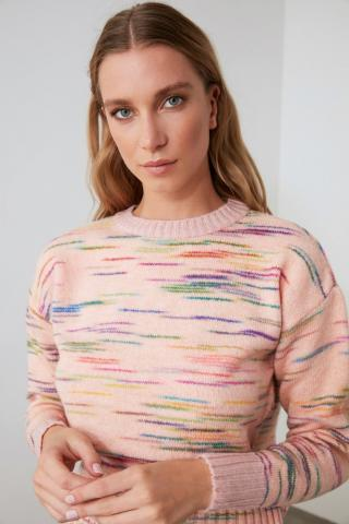 Trendyol Powder Muline Upright Collar Knitwear Sweater dámské powder pink S