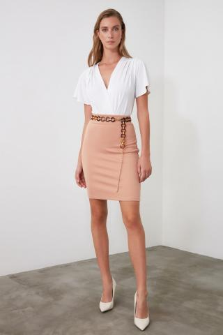 Trendyol Powder Pencil Knitted Skirt dámské powder pink XS