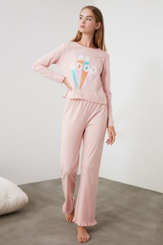 Trendyol Powder Printed Knitted Pyjamas Kit dámské powder pink XS