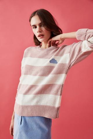 Trendyol Powder Striped Embroidery Detailed Knitwear Sweater dámské powder pink S