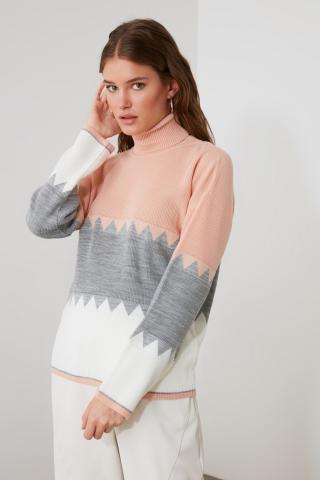 Trendyol Powder Zigzag Color Block Knitwear Sweater dámské powder pink S