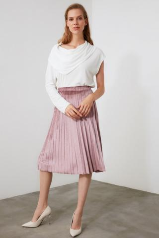 Trendyol PowderEd Pleated Knitted Skirt dámské powder pink XS