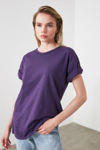 Trendyol Purple Back Printed Boyfriend Knitted T-Shirt dámské M