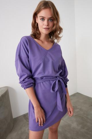Trendyol Purple Binding Detailed Knitted Dress dámské S