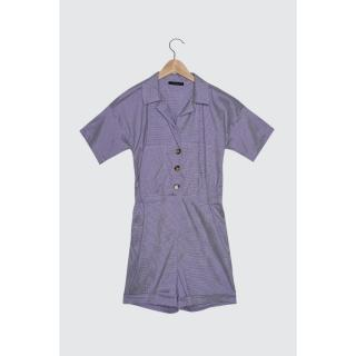 Trendyol Purple Button Detailed PocketEd Jumpsuit dámské 42