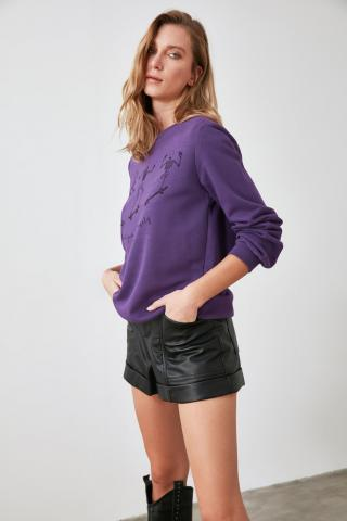 Trendyol Purple Printed Basic Knitted Sweatshirt dámské XS