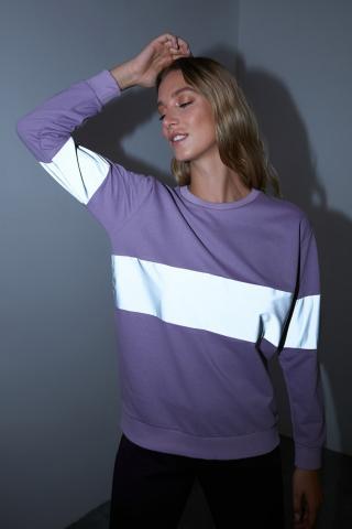 Trendyol Purple Reflector Detailed Basic Knitted Sweatshirt dámské S