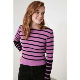 Trendyol Purple Striped Knitwear Sweater dámské S